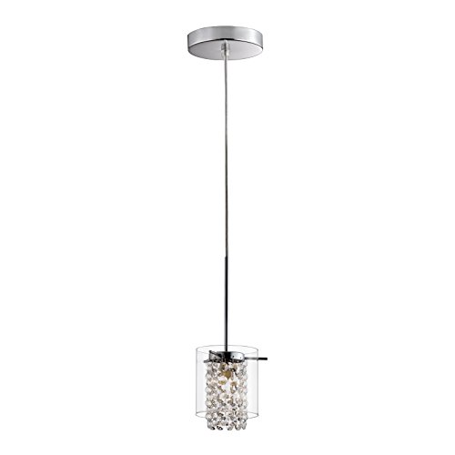 Bazz PR3811CB Pendant with Clear Round Glass Shade and Glass Beads, Single