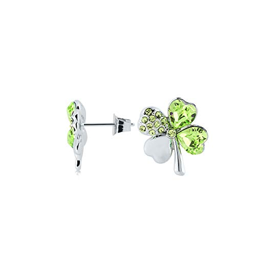 4 Leaf Clover Post Earrings - UPSERA 4 Leaf Clover Earrings Green Crystals from Swarovski Silver Tone Plated Shamrock Post Earrings Jewelry