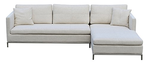 Soho Concept IstanbulSS-SS-CrT Istanbul Sectional Sofa with Stainless Steel Base, Cream Tweed (Soho Sectional Sofa)