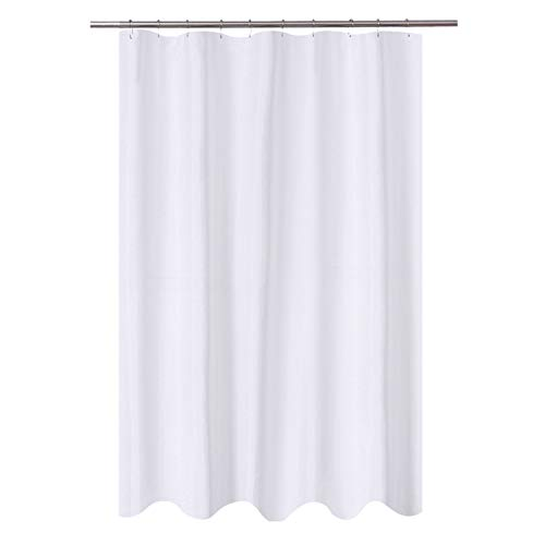 N&Y HOME Fabric Shower Curtain Liner 54 x 72 inches Bath Stall Size, Hotel Quality, Washable, Water Repellent, White Bathroom Curtains with Grommets, 54x72 (Inch 54 Shower Curtain)
