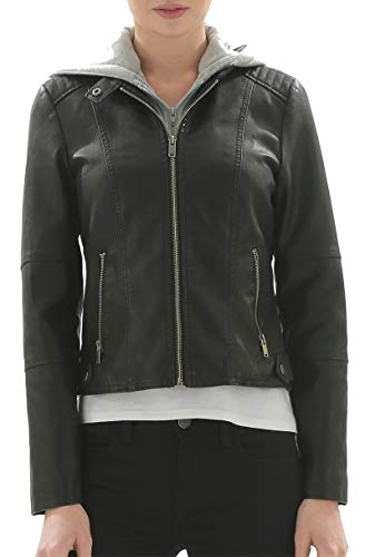 Fahsyee Women's Faux Leather Hooded Jackets, Moto Biker Coat Short PU Motorcycle Outwear Fitted Slim ()