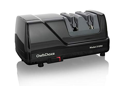 (Chef'sChoice 315 XV Versatile Professional Diamond Hone Electric Knife Sharpener for Straight edge or Serrated knives 15 and 20 Degree Class, 2-Stage, Black)
