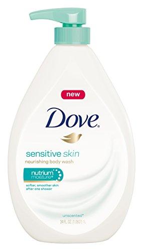 Dove Sensitive Skin Body Wash, Pump, Unscented 34 fl oz