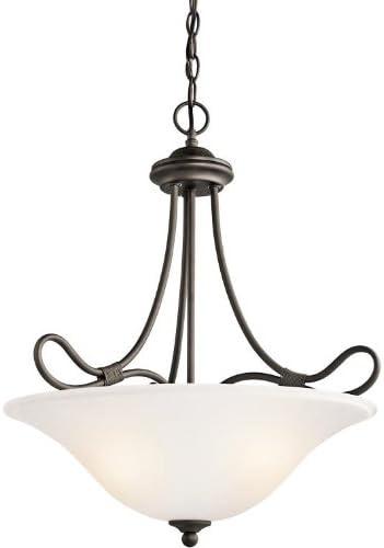 Kichler 3356OZ, Stafford Bowl Pendant, 3 Light, 300 Total Watts, Olde Bronze