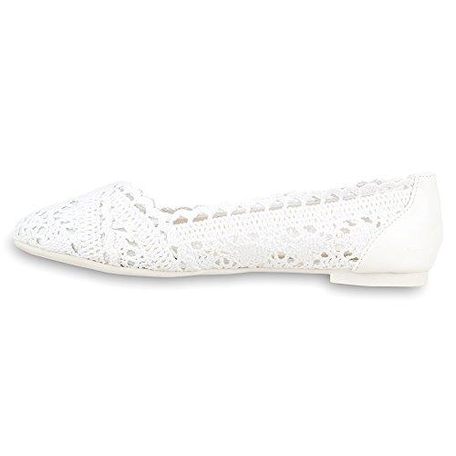 Stiefelparadies Damen Ballerinas Slipper Flache Schuhe Spitze Häkeloptik Feminine Slip-Ons Stoffschuhe Strass Metallic Flandell Weiß