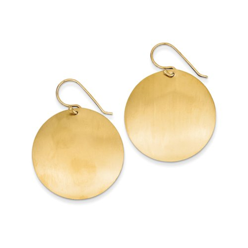 30mm Satin Circle Disc Earrings in 14k Yellow - Bow Ladies Circle Satin
