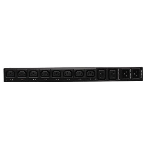 Tripp Lite Switched PDU with ATS, 20A, 10 Outlets (8 C13 & 2 C19), 200-240V, 2 C20, 12 ft. Cord, 1U Rack-Mount Power, TAA (PDUMH20HVATNET)