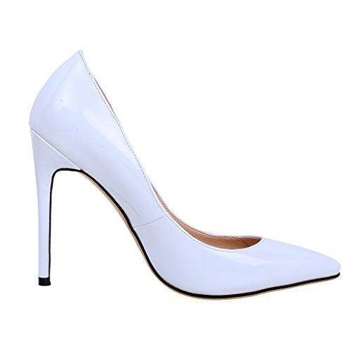 Calaier Femmes Cawait Designer Parties De Luxe Robe De Mariée Plus La Taille Comfortale Haut Talon Dames Bout Pointu 10.5cm Stiletto Glisser Sur Les Pompes Chaussures Blanc