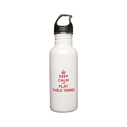 CafePress - Keep Calm Play Table Tennis Stainless Water Bottle - Stainless Steel Water Bottle, 0.6L Sports Bottle by CafePress