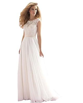 Irenwedding Women's A Line Boat Neck Applique Lace Sheer Back Chiffon Wedding Dress