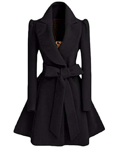 Black Belted Coat Overcoat Elegant Dress Down Howme Women Slim Collar Turn vqSSna