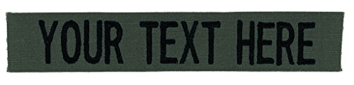 Custom Uniform Name Tapes, 50 Fabrics to choose from! Made in the USA! SHIPS UNDER 24 HRS! Olive Drab RIPSTOP, 4