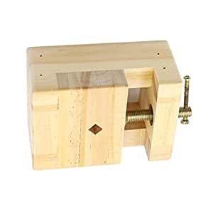 Dolity Wooden Portable Small Jewelry Clamp On Table Bench Vise Jaw Vice Engraving