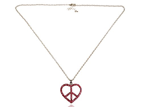Sign Peace Necklace Heart (Alilang Womens Silvery Tone Pink Rhinestones Heart Peace Sign Symbol Pendant Necklace)