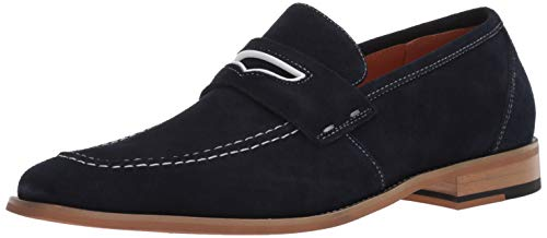 STACY ADAMS Men's Colfax Moc-Toe Slip-On Penny Loafer, Navy 9.5 M US