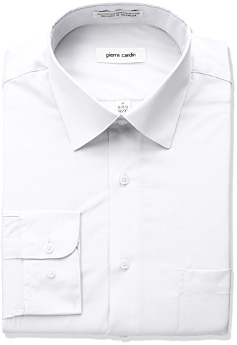 Pierre Cardin Men's Classic Fit Solid Broadcloth Semi Spread Collar Shirt, White, 16