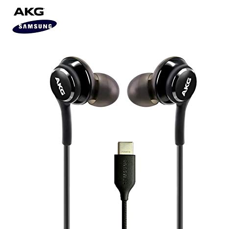 ElloGear 2020 Earbuds Stereo Headphones for Samsung Galaxy Note 10, Note 10+, Galaxy S10, S9 Plus, S10e - Designed by AKG - Braided Cable with Microphone and Volume Remote Type-C Connector - Black