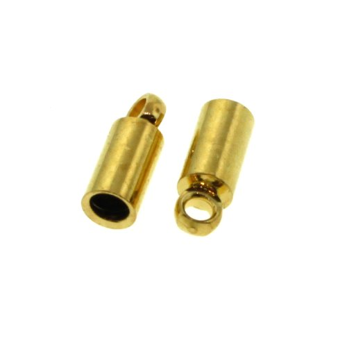 2mm 24pc Gold Plated Brass Leather or Cord End Cap with Loop Fits 2mm Cord 66317GP