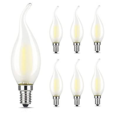 LED 4W 6 Pack Frosted Chandelier Candelabra Candle Bulb 40 Watt Equivalent E12 Base Warm White 2700K-C35 Lamp