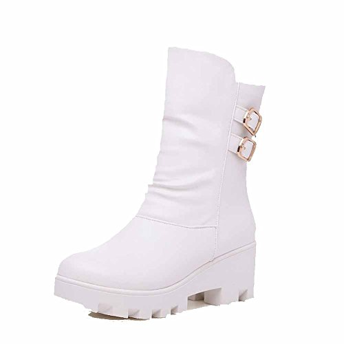 Kitten Pull White Closed Heels Women's Boots Allhqfashion Toe Round Solid Pu On wxq8tO