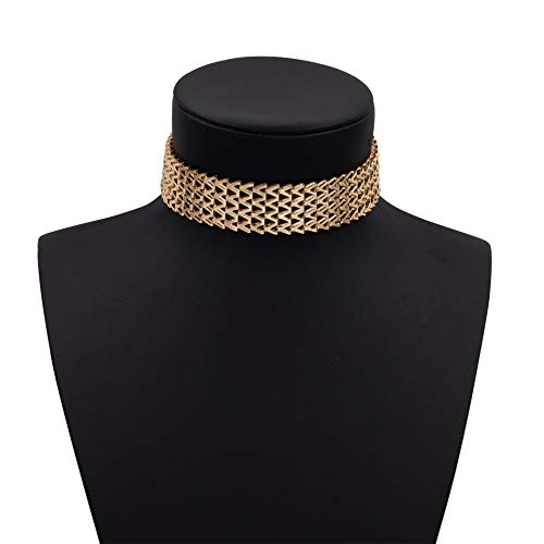 Boosic Thick Golden Metal Choker Necklace Adjustable Chain for Women