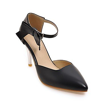 pwne La Mujer Tacones Zapatos Club Polipiel Primavera Otoño Casual Bowknot Stiletto Talón Almond Rubor Rosa Negro Blanco 3A-3 3/4 Pulg. US8.5 / EU39 / UK6.5 / CN40