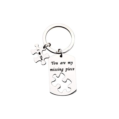 TGBJE Lover Gift You are My Missing Piece Keychain Gift for Boyfriend Girlfriend (Missing Piece Keychain) (Heart Puzzle Piece Keychain)