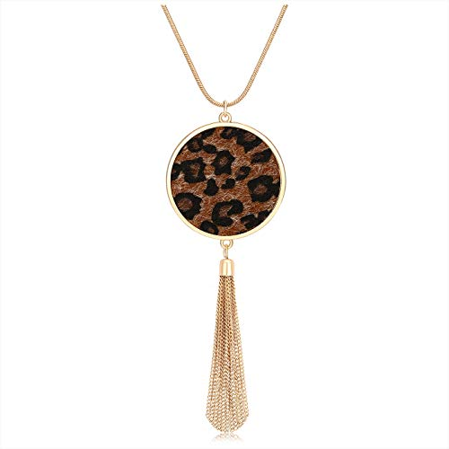 MOLOCH Long Necklaces for Woman Disk Circle Pendant Necklaces Tassel Fringe Y Necklace Set Statement Pendant (Dark Leopard)
