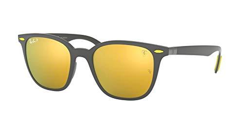 (Ray-Ban RB4297M Scuderia Ferrari Collection Square Sunglasses, Matte Grey/Polarized Gold Mirror, 51 mm)