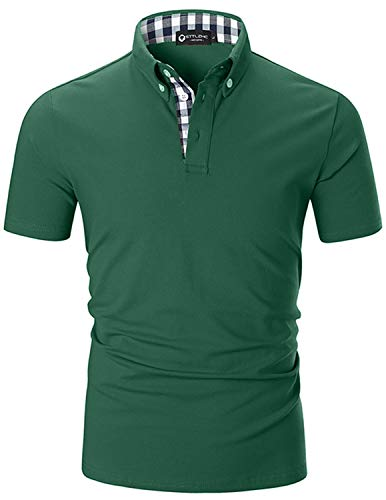 STTLZMC Men's Short Sleeve Polo Shirts Casual Fit Golf Solid Color Tops (XX-Large, Green)