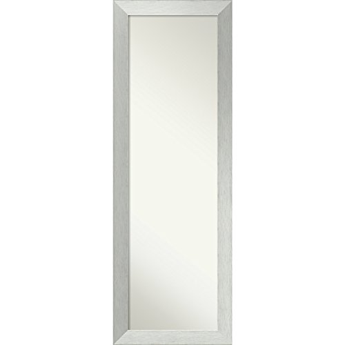 Amanti Art on the Door Full Length Wall Mirror, Brushed Sterling Silver: Outer Size 18 x 52 18x52 (Made Custom Doors Mirror Closet)