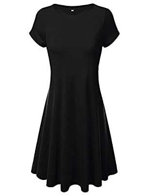 Annigo Casual Scoop Neck Solid Summer T-Shirt Tunic Womens Dresses