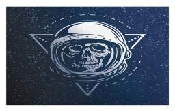 Ambesonne Outer Space Doormat, Dead Skull Head Icon Cosmonaut Costume Astronomy Terrestrial Horror Scare Image, Decorative Polyester Floor Mat with Non-Skid Backing, 30 W X 18 L Inches, Grey -