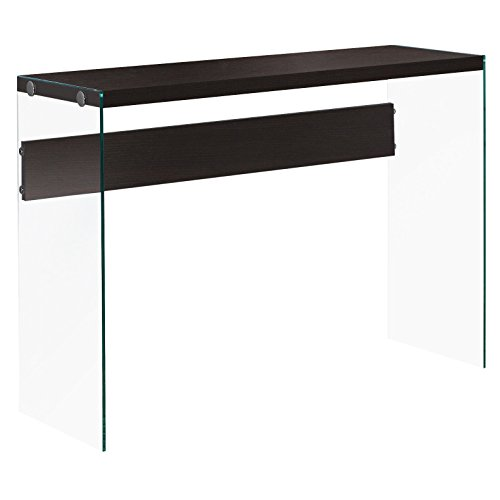 Monarch specialties I 3282, Console Sofa Table, Tempered Glass, Cappuccino, 44