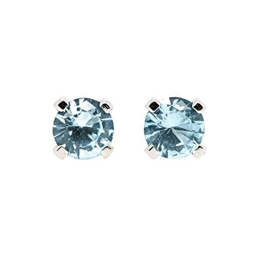 (3mm Tiny Aqua Blue Aquamarine Gemstone Stud Earrings in Sterling Silver - March Birthstone)