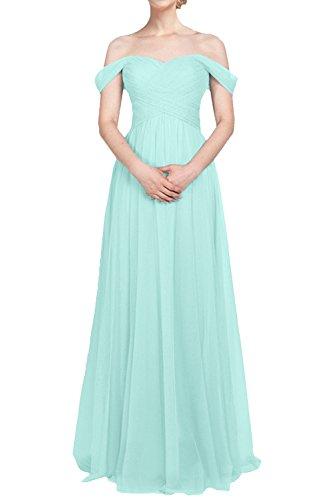 Damen Minze Abendkleider Abschlussballkleider lang A Gruen Partykleider Brautjungfernkleider La mia Braut Schulterfrei Tuell Linie E4x7qpqaw
