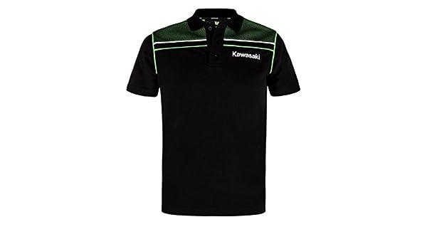 Kawasaki - Polo - Cuello de Polo - para Hombre Negro y Verde Small ...
