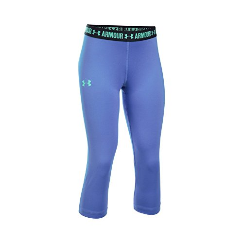 Under Armour Girls' HeatGear Armour Solid Capri, Violet Storm/Black, Youth X-Large