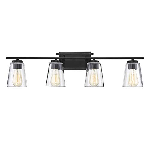 Savoy House 8-1020-4-BK Calhoun 4-Light Bathroom Vanity Light in a Black Finish with Clear Glass (32