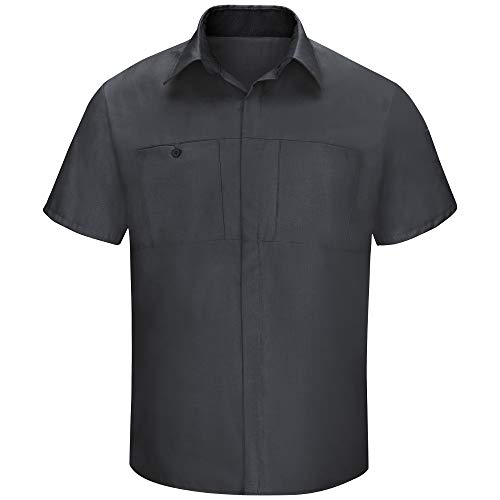 Red Kap Men's Short Sleeve Performance Plus Shop Shirt with OilBlok Technology, Charcoal with Black Mesh, Large from Red Kap