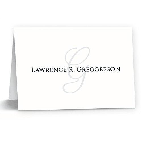 Monogramed Notecard Foldover Personalized Stationery - Set of 12 - 12 plain, white envelopes Photo #7