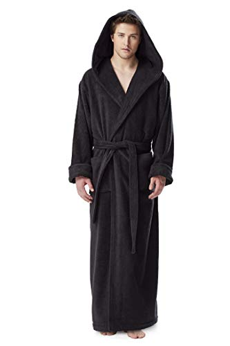 Hooded Terry Cloth Robe - Arus Men's Hood'n Full Ankle Length Hooded Turkish Cotton Bathrobe Black Large