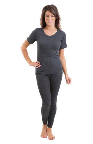 Mujeres/Damas Costilla Conjunto De Ropa Interior Térmica, Chaleco De Manga Corta Y Pantalones Largos, Carbón De Leña 36-38