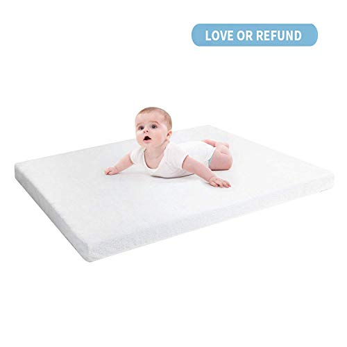 """RUUF Pack N Play Mattress Topper, Premium Gel-Infused Memory Foam Play Yard Mattress Pad with Removable 100% Waterproof Cotton Cover, 37.5"""" x 26"""" x 2"""""""