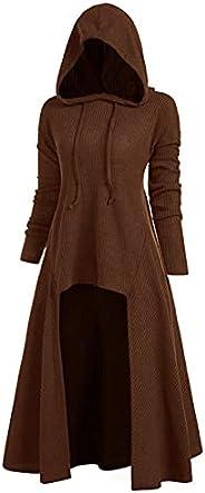 Womens Loose Blouse Tops Long Sleeve Sweater Solid Plus Size Coat Vintage Hooded Cloak Halloween Dress