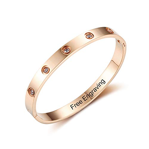 Women Bangle Bracelets for Friends Birthday Gifts Personalized Cuff Bangle for Mothers Free Engraving Couples Bangle Bracelets for Daily Reminder (Rose Gold)