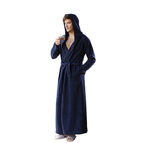 7 VEILS Women and Men Microfleece Ultra Long Floor-Length Hooded Bathrobes -Navy Blue-XL ()