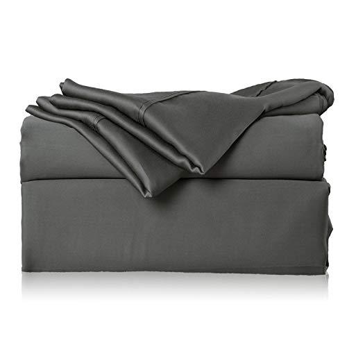 Bedsure Bamboo Bed Sheet Set King Size Grey 100% Bamboo Viscose Bed Linen in Gift Box