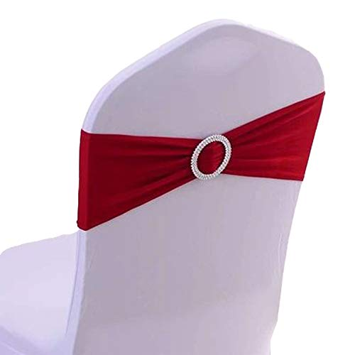 100PCS Stretch Wedding Chair Bands with Buckle Slider Sashes Bow Decorations 10 Colors (Wine Red) (Stretch Medallion)