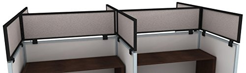 24'' Acoustical Cubicle Mounted Privacy Panel with Small Brackets, 24'' X 48'', Overcast/Black by OBEX